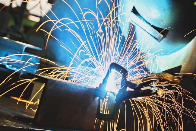 Close up of steel welding.